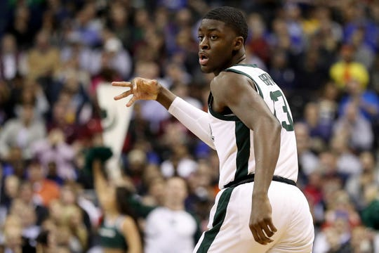 Michigan State's Gabe Brown celebrates a 3-point basket during the first half of an East Region semifinal in the NCAA tournament on Friday, March 29, 2019, in Washington.