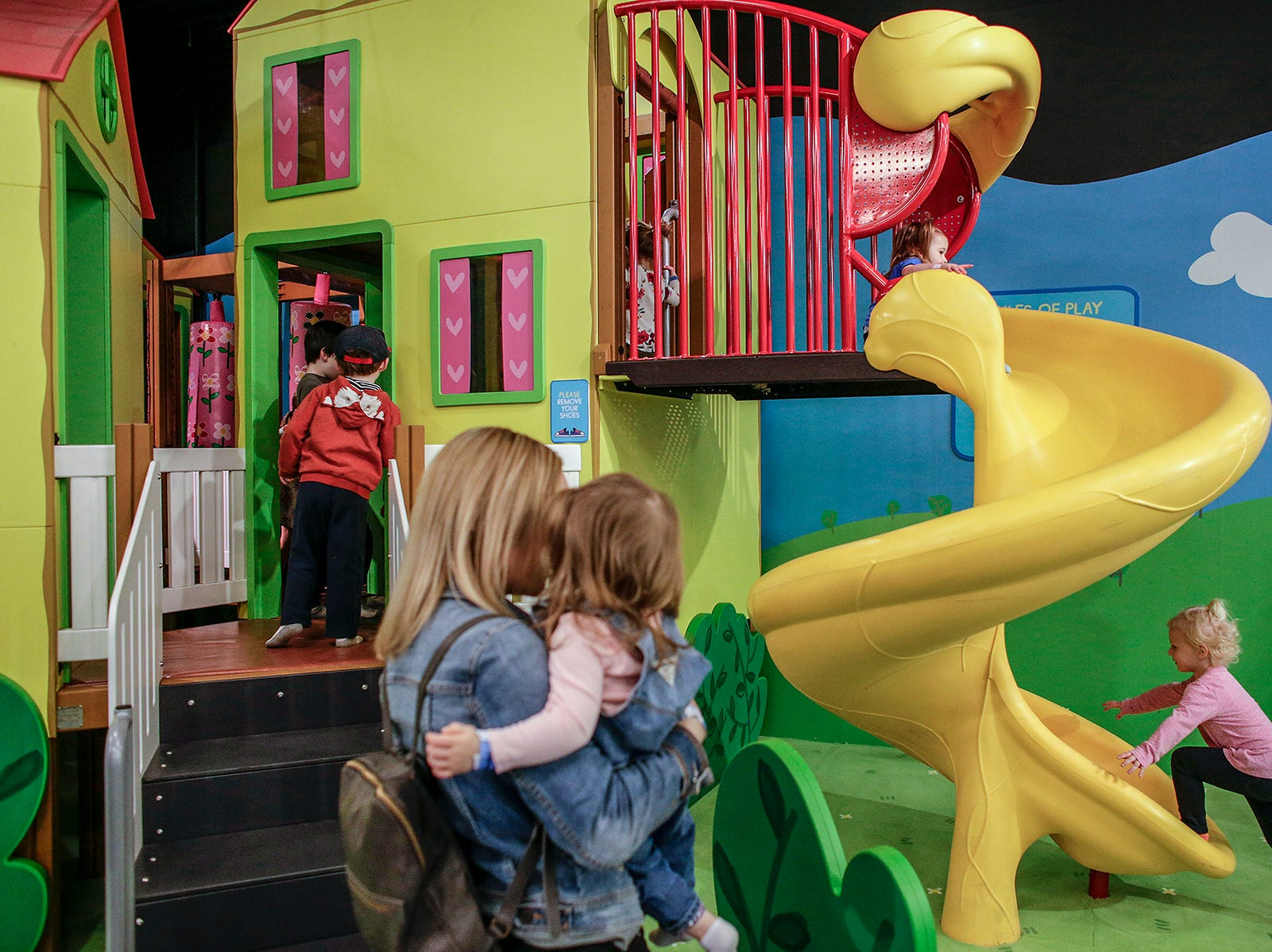 Children explore Peppa Pig's Treehouse play area during a media preview at Peppa Pig's World of Play attraction at Great Lakes Crossing in Auburn Hills, Mich. photographed on Friday, March 29, 2019.