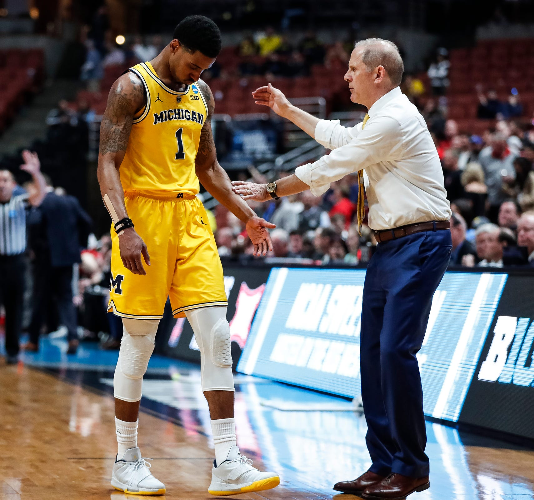 Michigan's Charles Matthews walks off the court after being substituted by coach John Beilein during the 63-44 loss in the Sweet 16 against Texas Tech in Anaheim, Calif., Thursday, March 28, 2019.