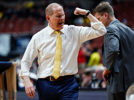 Michigan coach John Beilein calls a timeout during the second half of the 63-44 loss in the Sweet 16 against Texas Tech in Anaheim, Calif., Thursday, March 28, 2019.