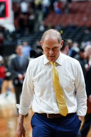 Michigan head coach John Beilein walks off the court after the Wolverines lost 63-44 to Texas Tech at the Sweet 16 game at Honda Center in Anaheim, Calif., Thursday, March 28, 2019.