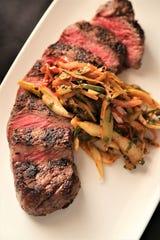 New York strip steak with giardiniera from Michael Symon's Roast in Detroit.