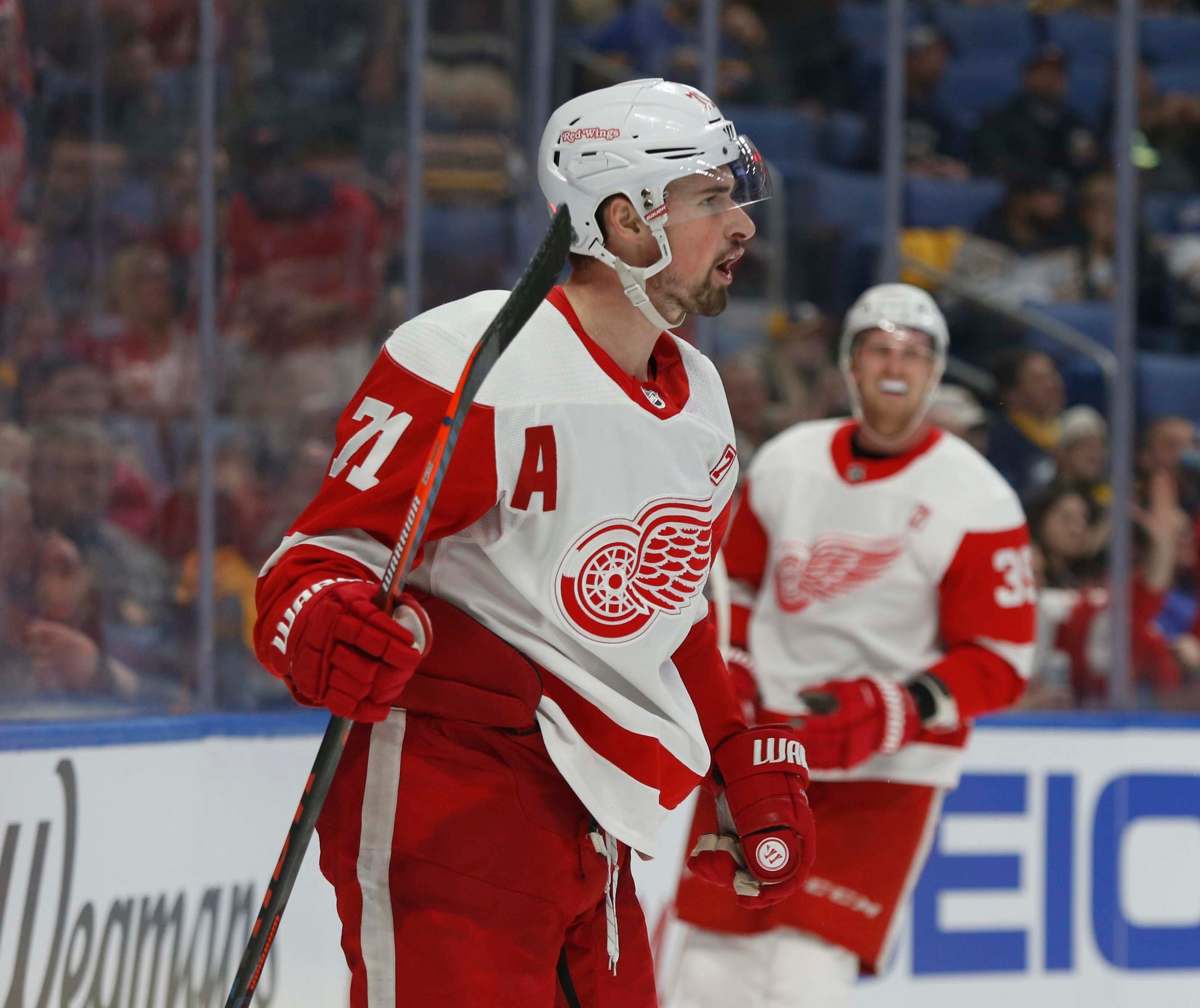 Red Wings center Dylan Larkin celebrates his goal during the third period of the Wings' 5-4 win on Thursday, March 28, 2019, in Buffalo, N.Y.