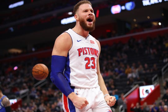 Blake Griffin #reacts after a basket against Orlando on March 28.