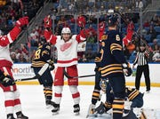 Detroit Red Wings left wing Tyler Bertuzzi (59) celebrates his goal against the Buffalo Sabres during the first period.