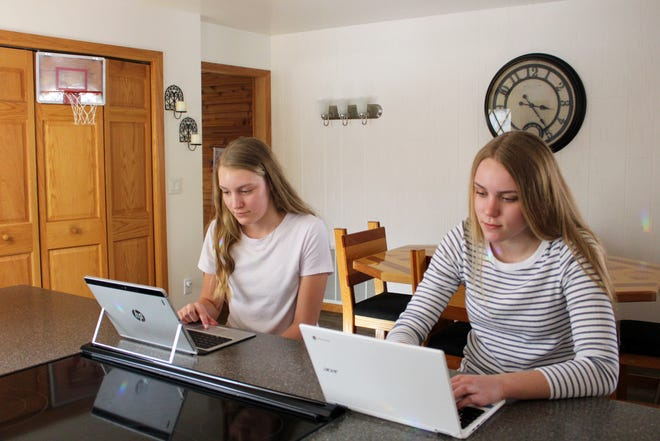 From left, Ashley Bell, 13, and Natalie Bell, 14, daughters of Kyle Bell of Negaunee Township, surf the internet at their home. The Bell family uses Northern Michigan University's expanded internet service.