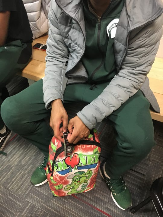 Cassius Winston's backpack was a gift from his mother.