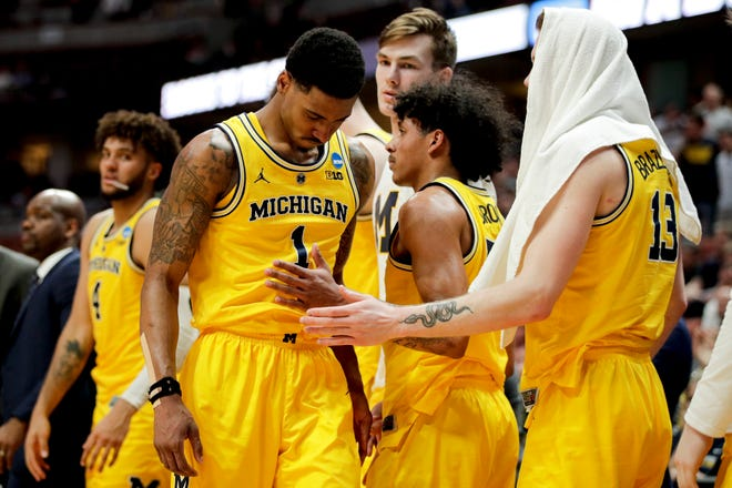 Michigan wing Charles Matthews checks out of the game late in Thursday's Sweet 16 loss to Texas Tech.