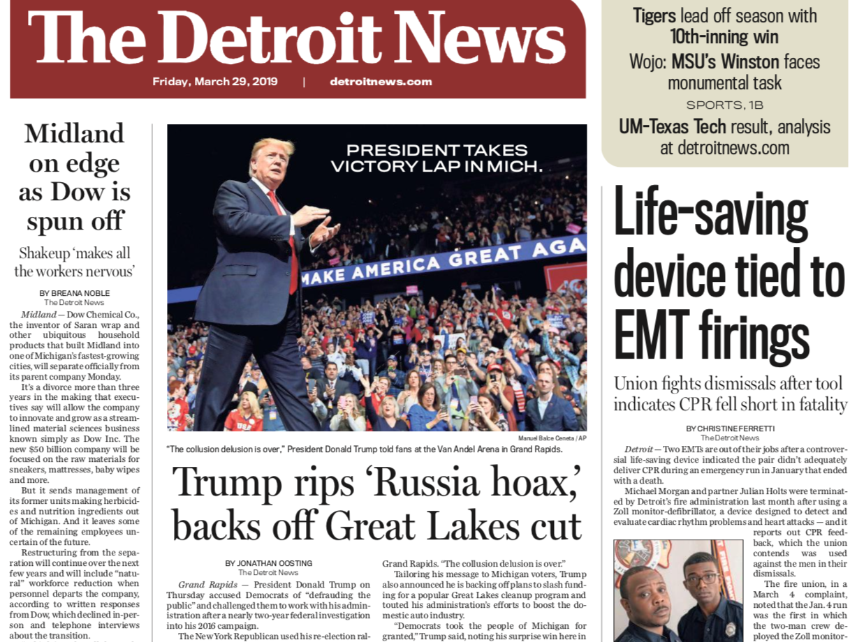 The front page of the Detroit News on Friday, March 29, 2019