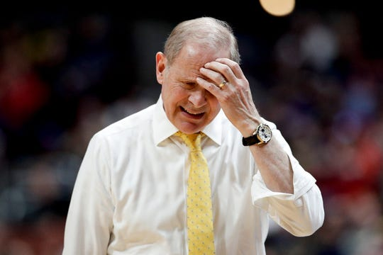 Michigan coach John Beilein reacts during the second half against Texas Tech.
