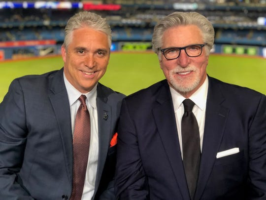 Matt Shepard and Jack Morris in the Tigers broadcast booth Thursday.