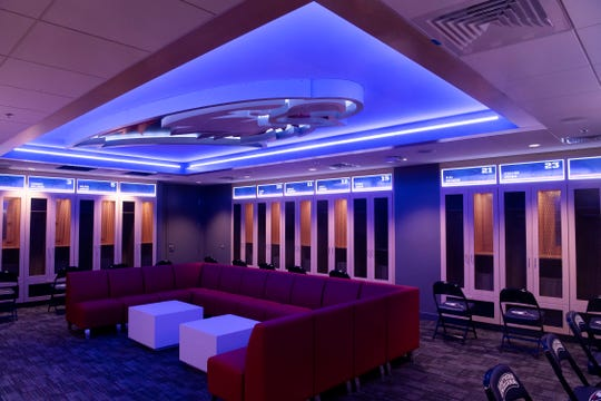 The women's basketball locker room in the Screaming Eagles Arena is state-of-the-art.