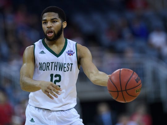 Northwest Missouri State's Trevor Hudgins (12) looks to make a pass during the NCAA Division II Final Four men's basketball tournament against the Saint Anselm Hawks at Ford Center in Evansville, Ind., Thursday, March 28, 2019. The Bearcats defeated the Hawks 76-53 to advance to the championship game which will be held at 2 p.m. Saturday.