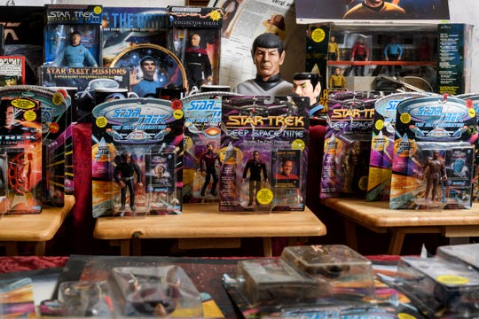 """Local """"Trekkie"""" Shelba Bauermeister's Star Trek memorabilia collection includes action figures, greeting cards, mugs, posters and much more. She and her husband, Jim, will be attending William Shatner's show at Evansville's Victory Theatre, Wednesday night, April 3."""