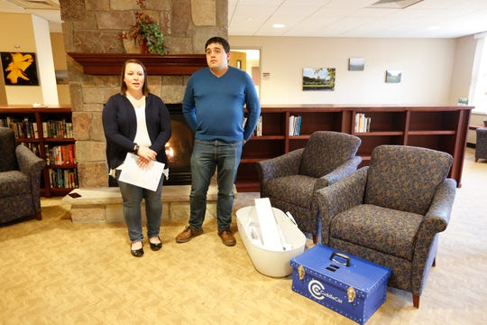 Tabitha and Salvatore Lazaro III announce their donation of a CuddleCot March 29, 2019 at St. Agnes Hospital in Fond du Lac. A CuddleCot is a water-cooled bassinet designed to prolong the length of time family can spend with a baby that was born deceased.