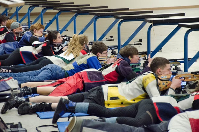 Shooters compete in air rifle at Camp Perry.