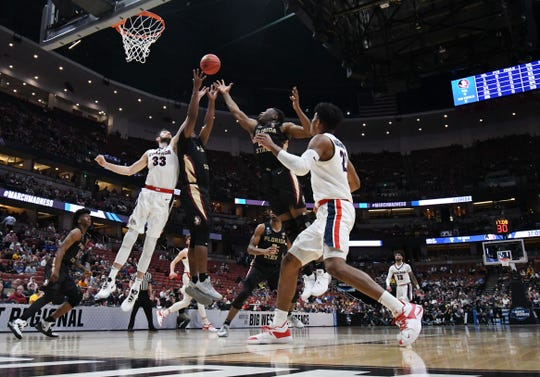 Gonzaga forward Killian Tillie (33) plays for the rebound against Florida State during the semifinals of the West Regional of the 2019 NCAA Tournament at Honda Center.