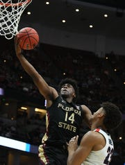 Florida State senior guard Terance Mann goes for a layup during the semifinals of the West Regional of the 2019 NCAA Tournament at the Honda Center.