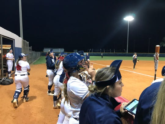 The Estero softball team put on their rally caps late in the contest against Mariner Wednesday. The Wildcats broke through with a run in the bottom of the eighth for a 1-0 victory. Estero is 15-0 and ranked sixth in the nation by both USA Today and MaxPreps.