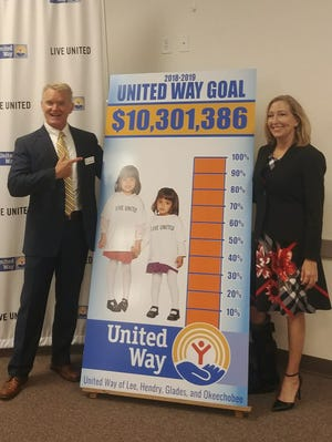 Robert Shearman and Linda Doggett announce Friday morning that  the United Way of Lee, Hendry, Glades and Okeechobee exceeded its goal by $100,000.