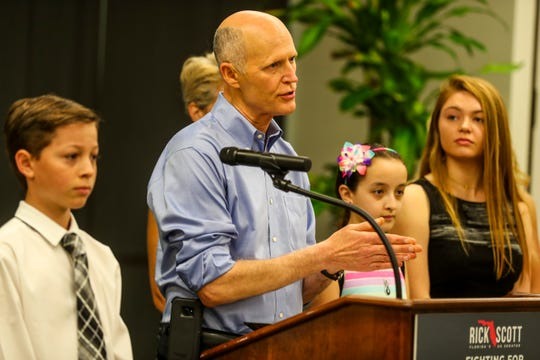 Senator Rick Scott stopped in Fort Myers to make an announcement regarding efforts to make healthcare more affordable and accessible for Florida families. The press conference was held at the Southwest Florida International Airport Wright Brothers Conference Room, Fort Myers, FL. A few Florida children with Type 1 diabetes, Sabine Rivera, 12 of Naples, Emmabella Rudd, 17 of Sarasota, and Lucas Lye, 14 of Naples, were on hand to tell their stories about how their families deal with the cost of insulin.