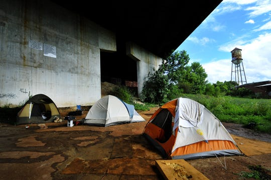 Inside Tent City, an organized makeshift homeless housing community, under a bridge in Greenville on August 21, 2013.