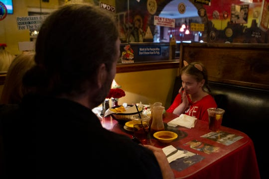 Owner David Stockwell and his wife Dana sit with their daughter Ava at El Matador, Thursday, March 28, 2019.