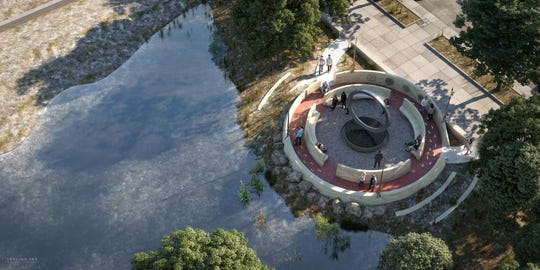 "The design for the National Native American Veterans Memorial entitled ""Warriors' Circle of Honor"" by Harvey Pratt."