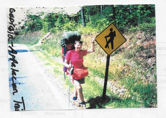 This is Karen Siebers hiking the Appalachian Trail.