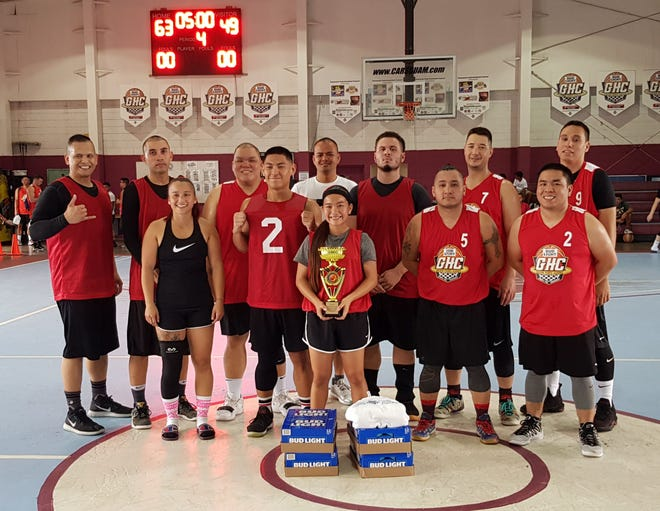 Team Savage captured the championship title after a 63-45 win against the Tamuning Typhoons in the Bud Light Golden Hoops Classic 2019 Spring Tournament on Sunday.  Standing left to right front row are Lili Baranda, Kevin Javier, Amanda Espinal, Vince Espinal and Jesse Espinal. Back row, from left,  are Romeo Sanchez, Brandon Cruz, Ryan Treltas, Symon Madrazo, Dezdin Fikes, Conrad Berg and Jared Conolly. Missing in photo are Elisha Benavente, Glen Gogue and Mia San Nicolas.