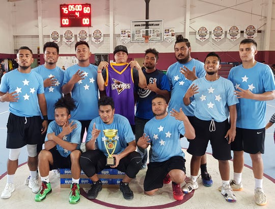 4 Stars captured the men's recreation championship title after defeating Team Tatuha 75-60 on Sunday in the Bud Light Golden Hoops Classic 2019 Spring Tournament. Front row left to right are Cass Nakamura, Maks Kepwe and Julius Vid. Standing left to right are Action Aiashy, Alex Denchiro, Gino Soulik, sponsor Mike Sablan, Jeremiah George, Whatson Tomy, Marcel Sewell and Billy Belger. Missing in photo are Jayme Saperna, Teks Erwin, Walker Meippen and Sing Meippen.