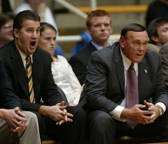 Then Purdue associate head coach Matt Painter, left, and more stoic head coach Gene Keady watched a Purdue exhibition game at Mackey Arena in 2004.