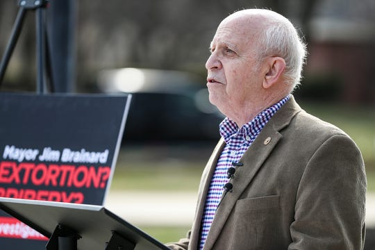 Hamilton County Democratic Party Chairman Joe Weingarten speaks at a press conference outside Carmel City Hall, Thursday, March 28, 2019.