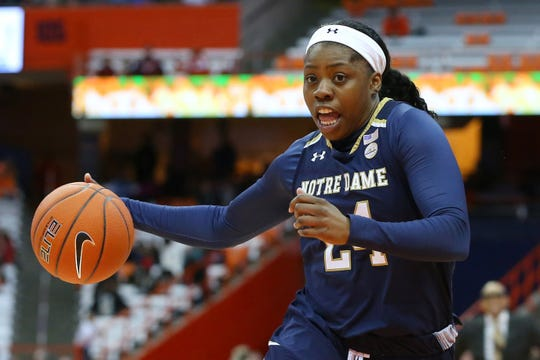 Notre Dame Fighting Irish guard Arike Ogunbowale honed her competitive spirit playing football with boys.