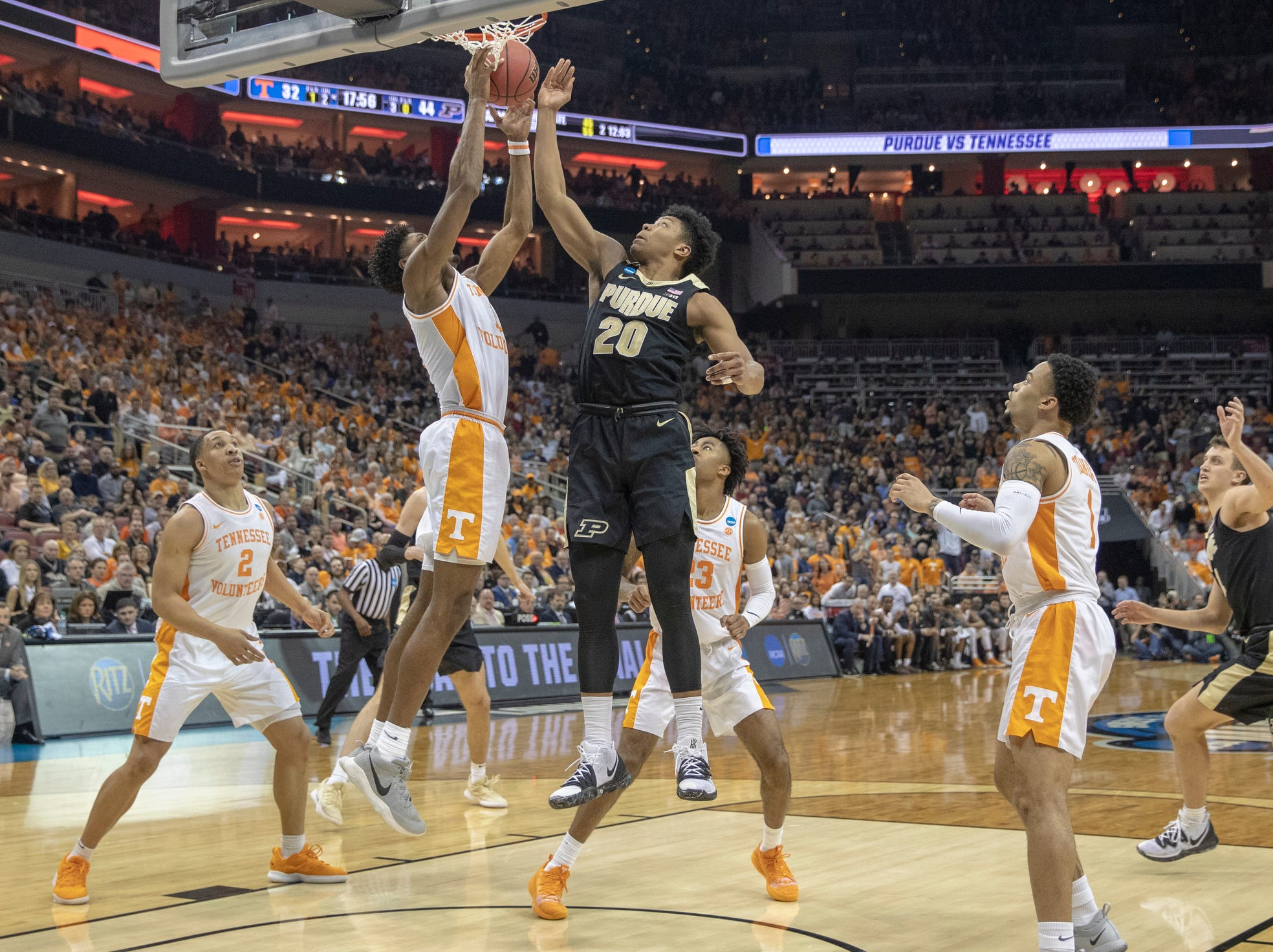 Purdue vs. Tennessee, NCAA Division 1 Men's Basketball 'Sweet Sixteen' game, KFC Yum Center, Louisville, Thursday, March 28, 2019. Purdue beat Tennessee 99-94.