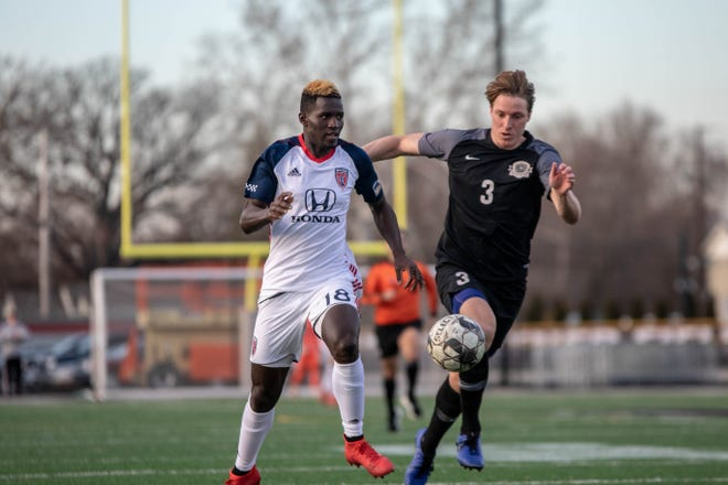 Indy Eleven's surprising new player Alioune Diakhate (18), during preseason action.