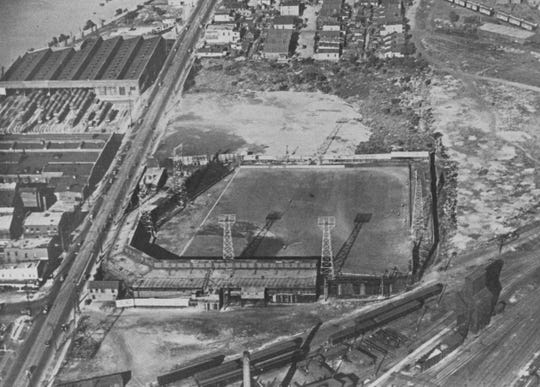 Aerial view of the old Washington Park baseball field.