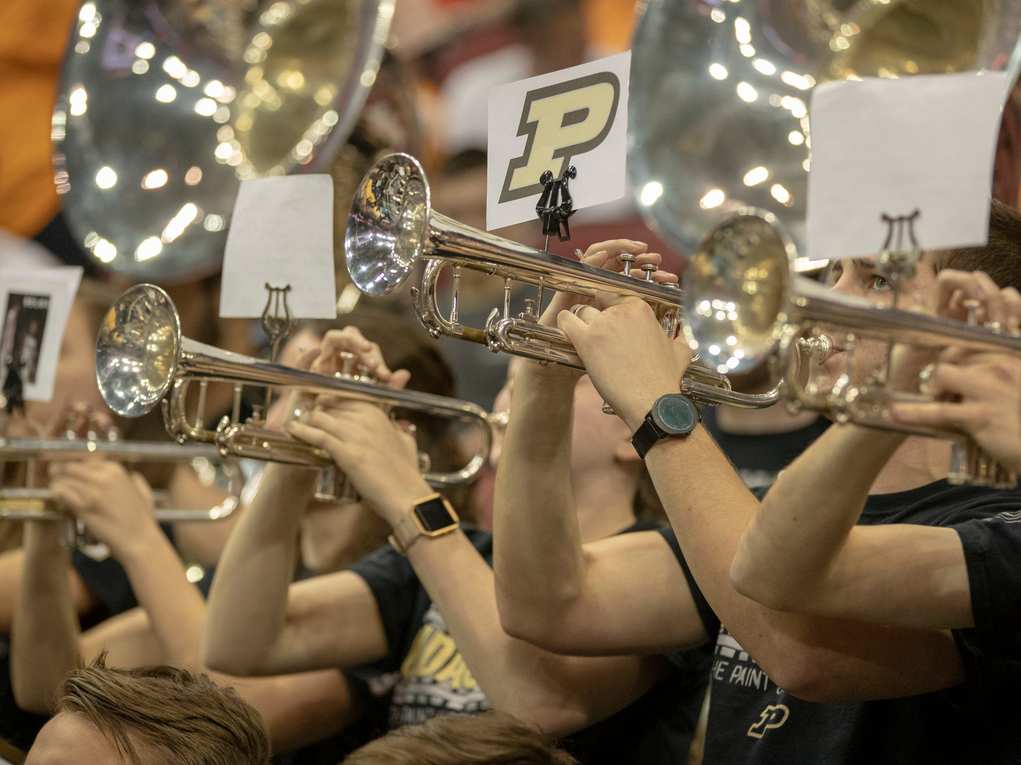 Purdue band members play during the game against Tennessee, NCAA Division 1 Men's Basketball 'Sweet Sixteen' game, KFC Yum Center, Louisville, Thursday, March 28, 2019. Purdue beat Tennessee 99-94.