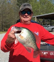 Hugh Krutz of Ridgeland holds up a 3.21-pound crappie he recently caught at Ross Barnett Reservoir.