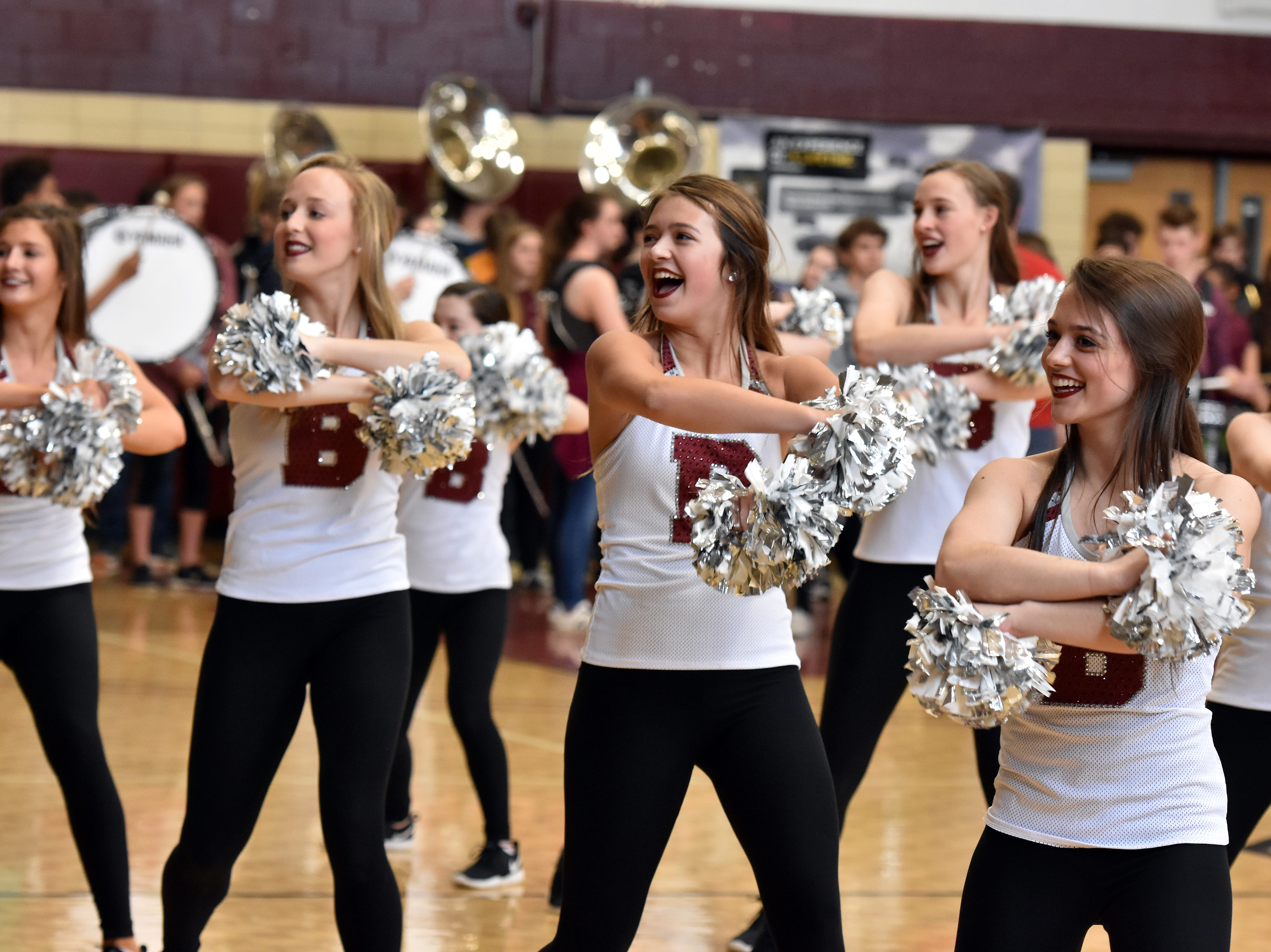 The Bearden High dance team performs a sideline routine during the pep rally on March 29 to honor the state championship basketball team.