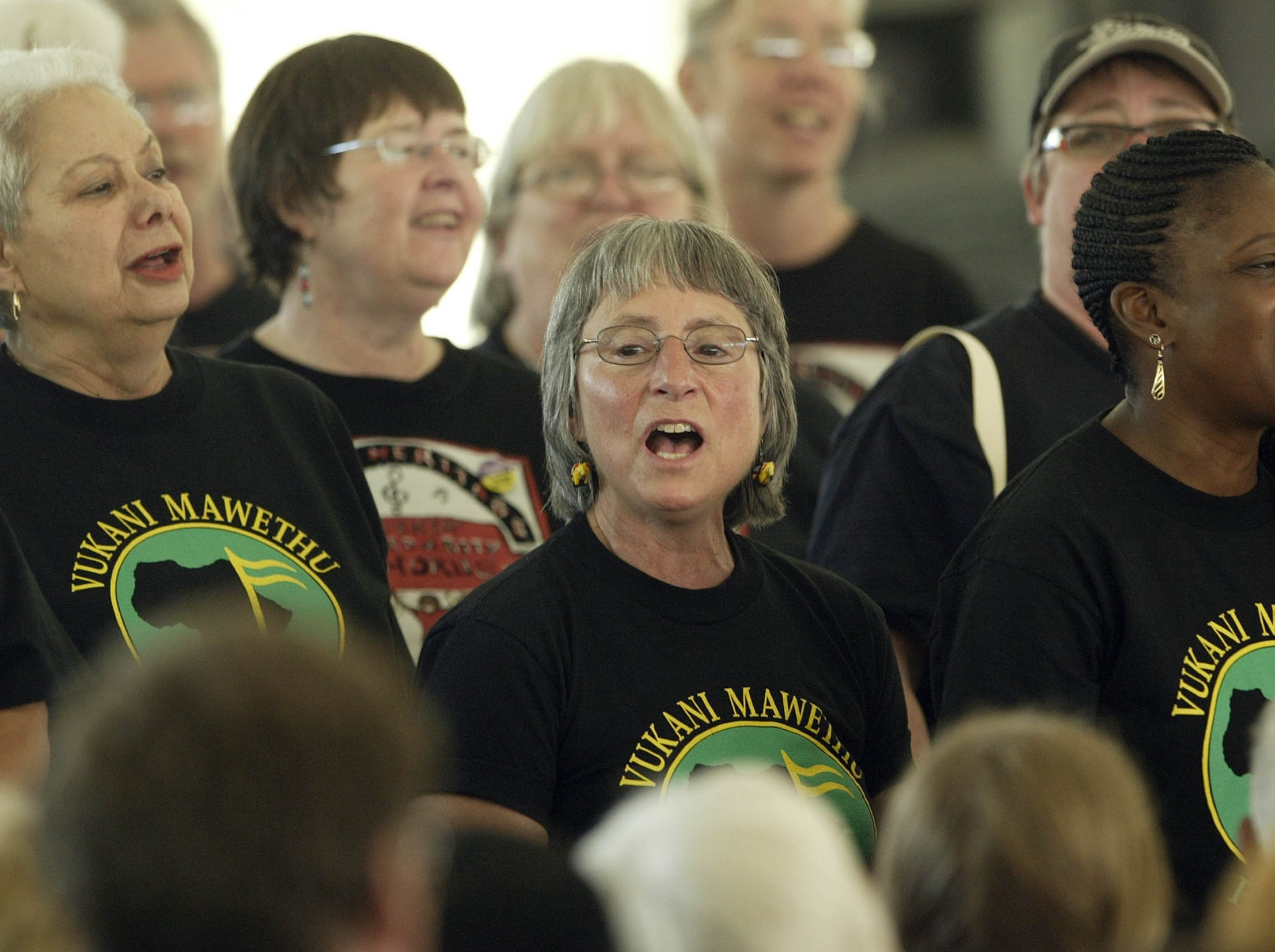 Members of the Vukani Mawethu Chorus sing during a gathering to mark the 75th Anniversary of the Highlander Center Saturday, Sept. 1, 2007 in New Market, Tenn. The little school tucked away in the east Tennessee mountains may have faded from the public spotlight, but it was once at the center of the struggle for civil rights.