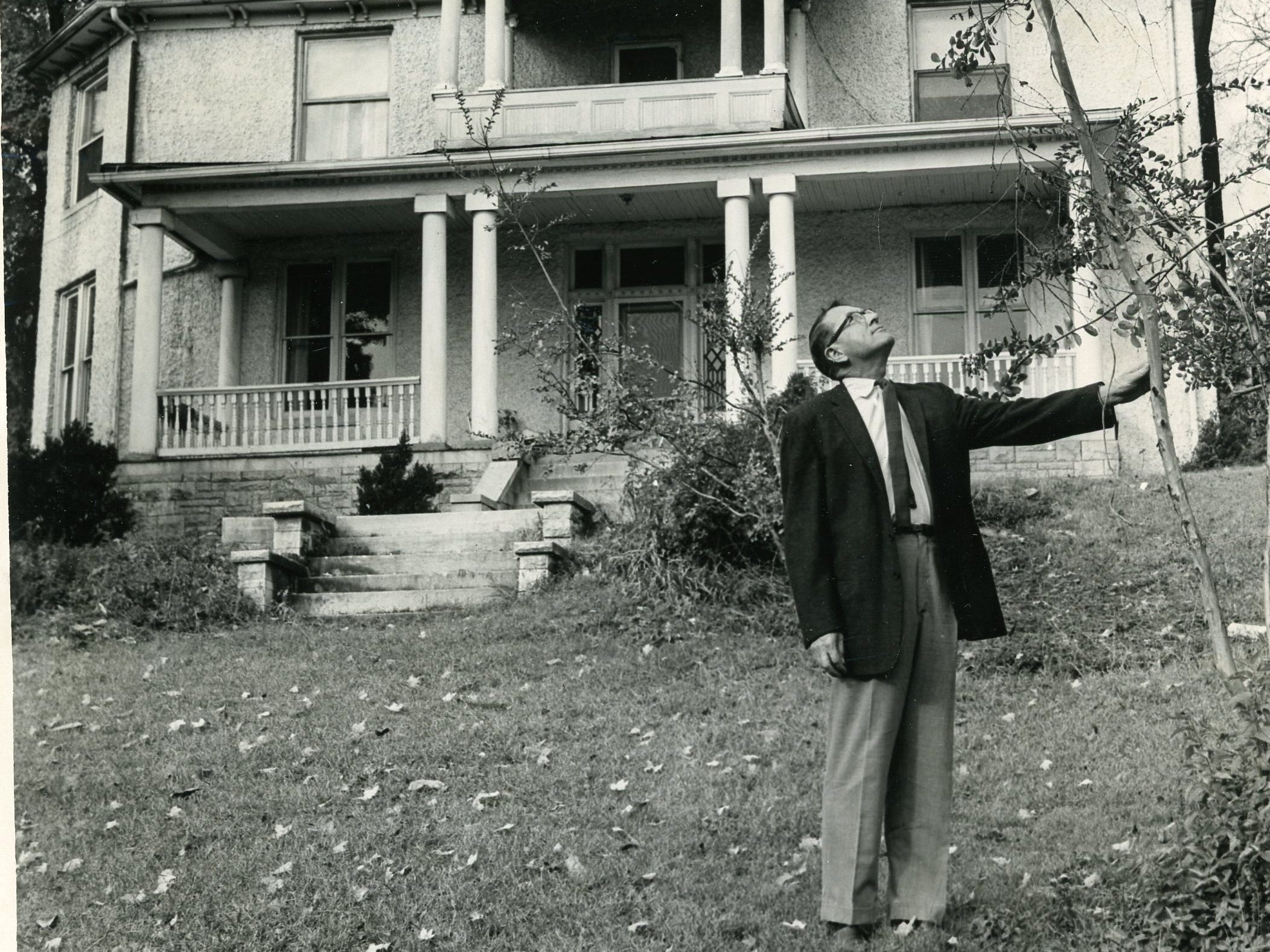 Myles Horton, director of the controversial Highlander Folk School at Monteagle is shown on the lawn of the house at 1625 Riverside Drive, November 1, 1961.