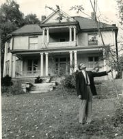 Myles Horton, director of the controversial Highlander Center, is shown on the lawn of the center's Knoxville site at 1625 Riverside Drive, November 1, 1961.