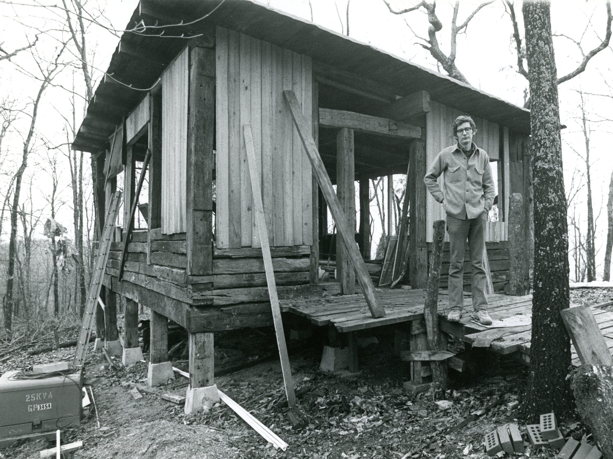 Mike Clark at the February 10, 1974 house raising, Highlander Research and Education Center.
