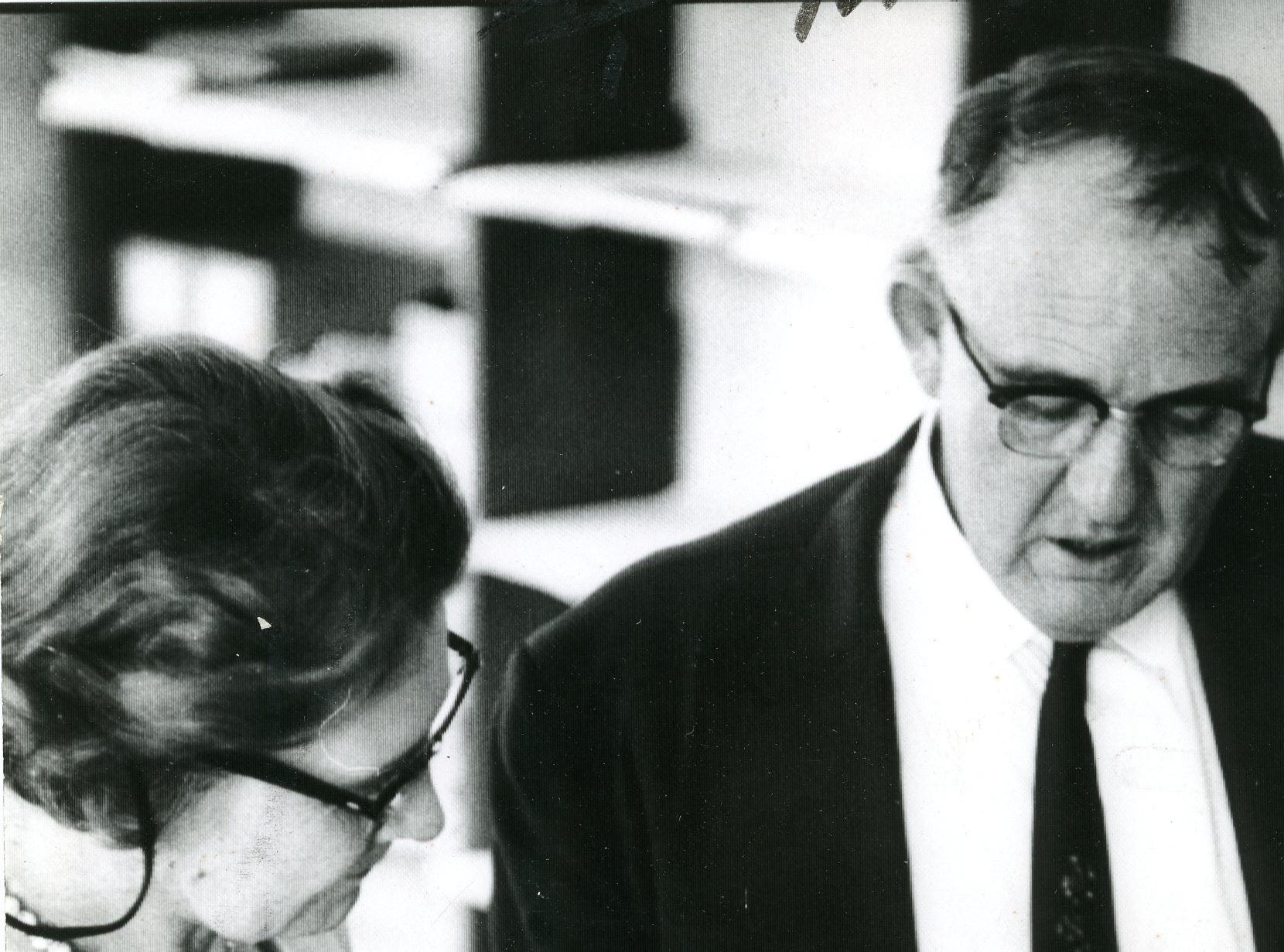 District attorney A. F. Sloan, right, on the Highlander School case. August, 1959.