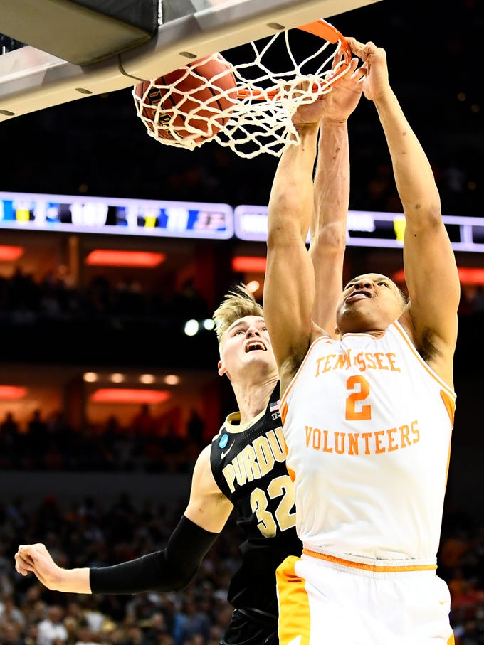 Tennessee forward Grant Williams (2) dunks during the Tennessee VolunteersÕ basketball Sweet 16 game against the Purdue Boilermakers in the NCAA Tournament held at the KFC Yum! Center in Louisville, Ky., on Thursday, March 28, 2019.