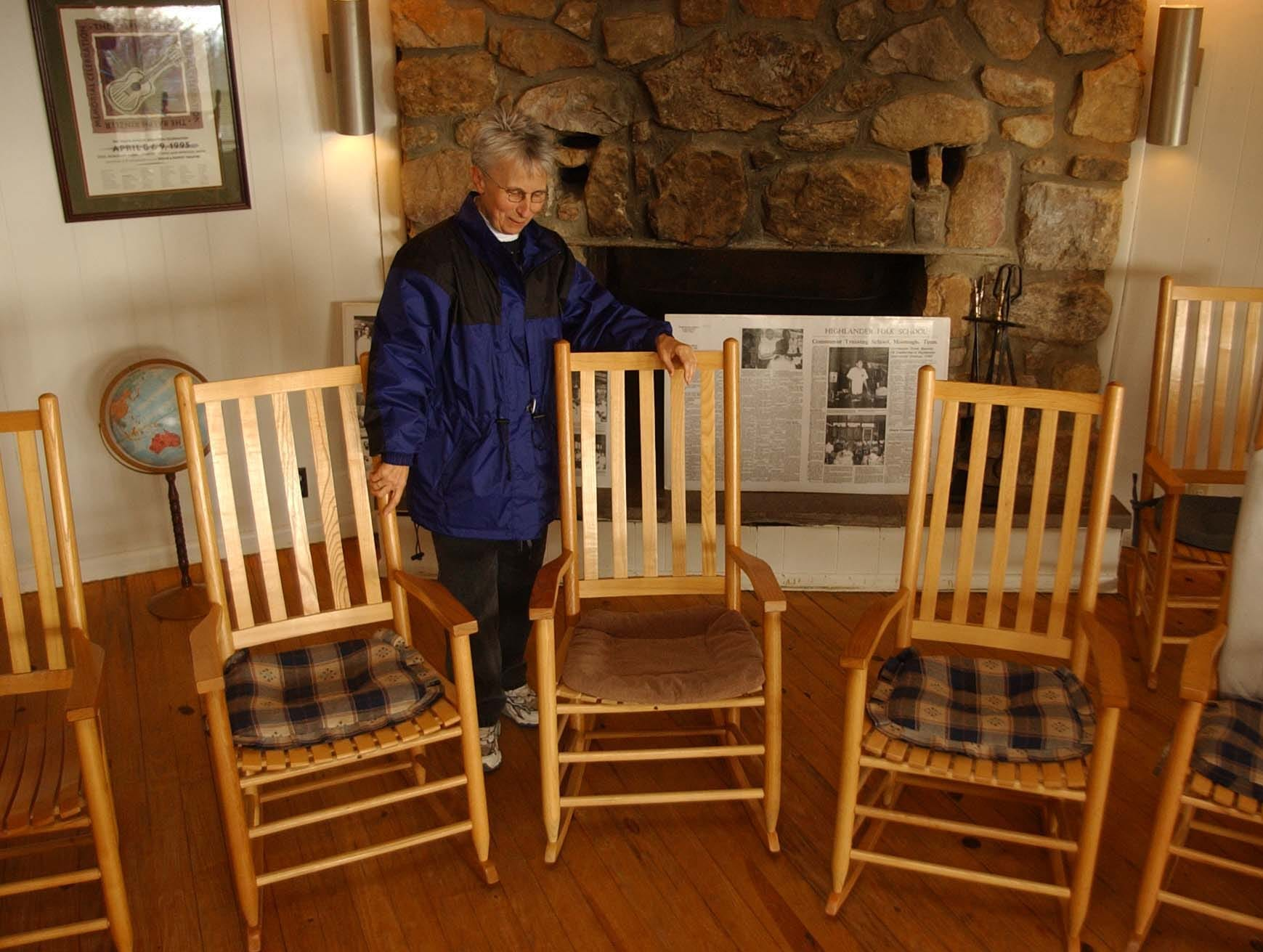 Suzanne Pharr Director of the Highlander Research and Educational Center in New Market stands with some of the trademark rocking chairs used during  conferences.  The Highlander Research and Educational Center is known for its 70-year history of social activism.  Jan. 13, 2003