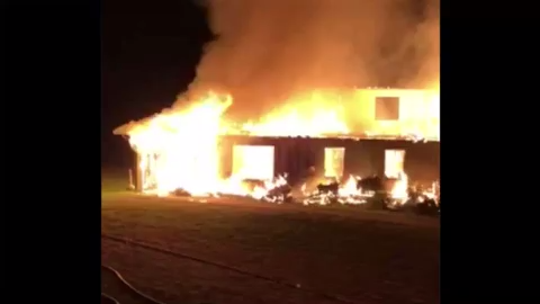 Fire destroys a building at Highlander Center