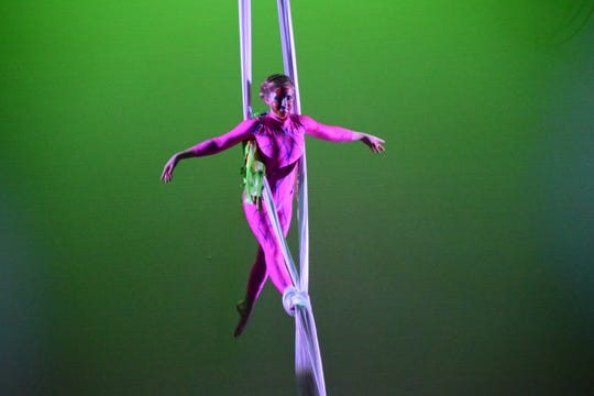 "Ava Schwegman, 13, takes to the sky in ""Dominion"" with Dragonfly Aerial and Circus Arts Studio performed at Clayton Performing Arts Center at Pellissippi State Community College Sunday, March 24."