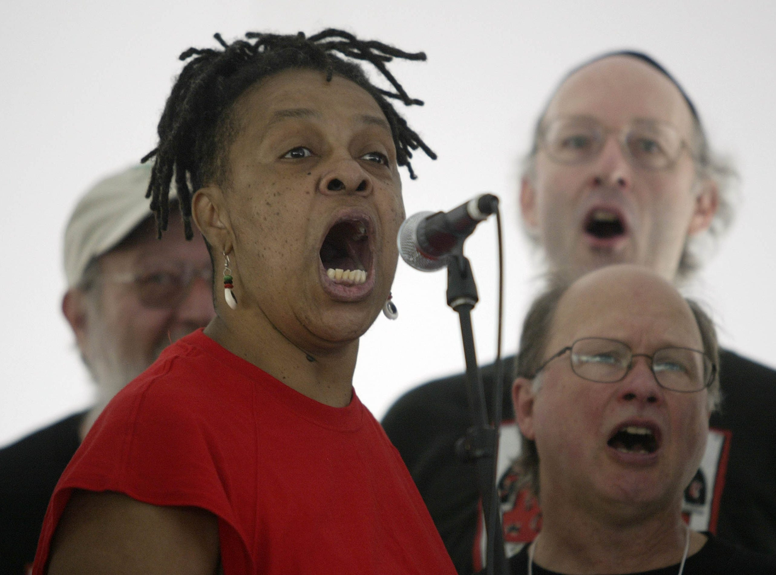 Paula Larke from Atmore, Ala.,  sings during a gathering to mark the 75th Anniversary of the Highlander Center Saturday, Sept. 1, 2007, in New Market, Tenn. The little school tucked away in the east Tennessee mountains may have faded from the public spotlight, but it was once at the center of the struggle for civil rights.